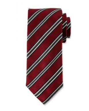 Canali Mens Alt Stripe Silk Satin Tie, Red