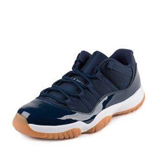 Nike Air Jordan 11 Retro Low - Chaussures de Basket-Ball, Homme, Couleur Bleu (Midnight Navy/White-Gum Light Brown), Taille 44 1/2