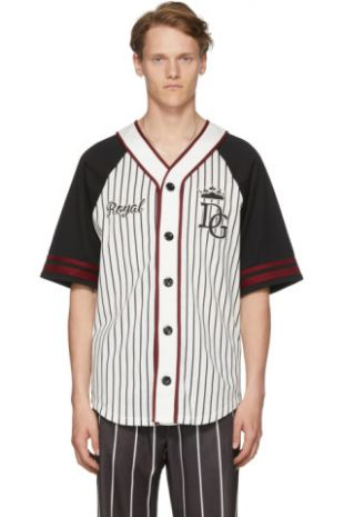 Dolce & Gabbana - Black & White Striped Baseball  Shirt