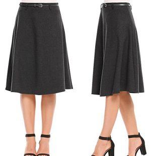 Vansop Women's High Waist A-Line Flared Swing Casual Midi Skirts with Belt