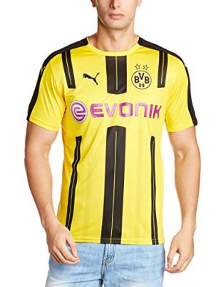 PUMA BVB Maillot Homme, Cyber Yellow/Black, FR : M (Taille Fabricant : M)