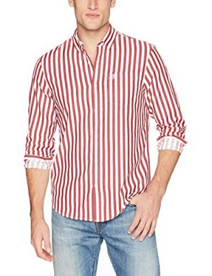 Original Penguin Men's Long Sleeve Vertical Stripe Button Down Shirt, Biking Red, Large