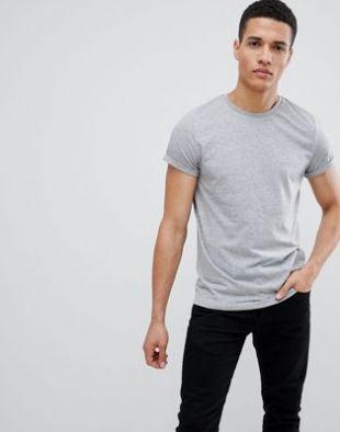 ASOS DESIGN   T shirt ras de cou à manches retroussées   Gris chiné at asos.com