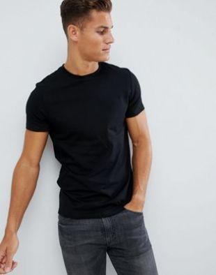 ASOS DESIGN   T shirt ras de cou en tissu bio   Noir at asos.com