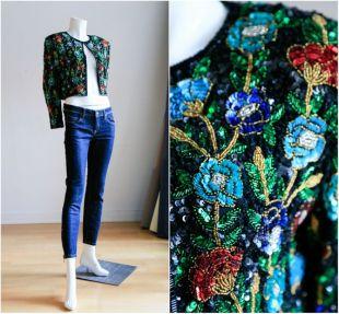 Multicolore perles veste boléro | Veste de soirée en perles | Sequin Top | Sequin veste | Veste boléro Sequin floral | Floral perles veste