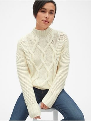 Cable-Knit Turtleneck Tunic Sweater by Gap