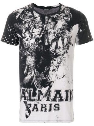 Balmain Mariniere Print T shirt