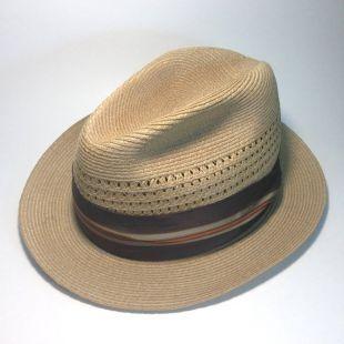 Vintage Stetson chapeau de paille   taille 7   collection Fedora   années 1960 Midcentury   bande de gros grain marron, Orange, or et bleu   bandeau de cuir