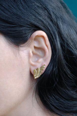 Gold Wing boucles d'oreilles, boucles d'oreilles plumes d'or, aile boucles d'oreilles, boucles d'oreilles plume, bijoux aile, aile d'ange boucles d'oreilles, boucles d'oreilles modernes, cadeau pour elle