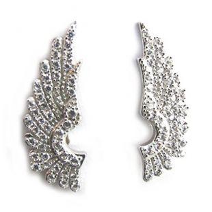 Les Trésors De Lily [N1816] - Boucles contours d'oreilles argent 'Les Ailes d'Ange' blanc