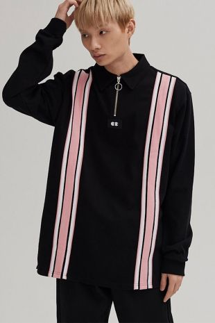 Lazy Oaf Stripe Through Jersey   Black on Garmentory