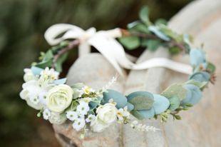 Couronne de fleurs d'eucalyptus sauge rose blanc ou rosé, côté fleur couronne, couronne de fleurs de mariage, couronne de mariée, couronne de Bohème, Couronne florale délicate