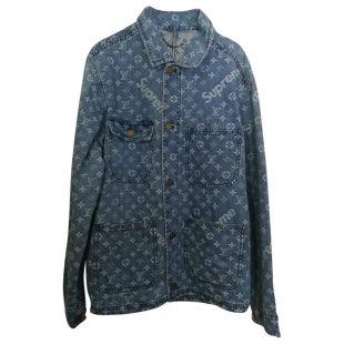 Blouson Louis Vuitton x Supreme Bleu