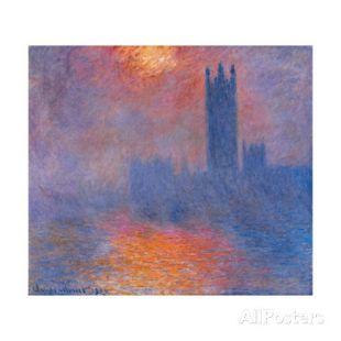 London Houses of Parliament. the Sun Shining Through the Fog  - Claude Monet