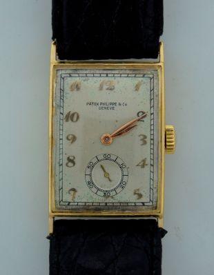 Vintage 1940s PATEK PHILIPPE YELLOW GOLD MEN'S WATCH BLK LEATHER STRAP Original