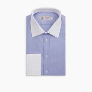 THE WALL STREET SHIRT WITH WHITE CLASSIC T&A COLLAR AS SEEN ON GORDON GEKKO