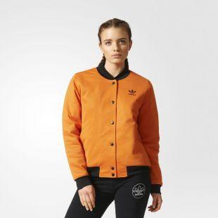 Womens Brooklyn Heights Bomber Jacket Trefoil Orange | CF1177  | eBay