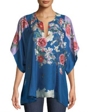 Johnny Was Samira Floral Print Twill Poncho Top
