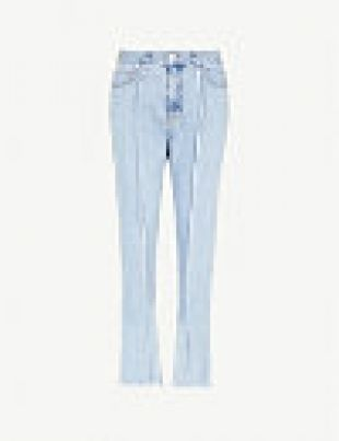 Raw edged high rise slim fit jeans