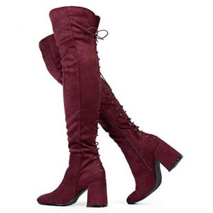 Women's Over The Knee Block Chunky Heel Stretch Boots Burgundy (8.5)