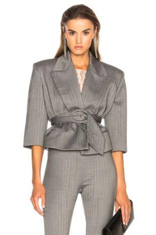 Belted Cropped Blazer in Grey