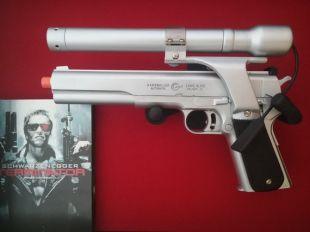 Réplique de film pistolet Terminator Longslide AMT Hardballer avec viseur laser