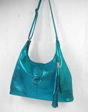 Gros Womens métallique turquoise italienne sac besace, sac en cuir souple, sac en cuir haut de gamme, doublée, poches, sangle réglable, double pompon