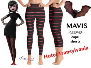 Mavis Hotel Transylvania Workout Leggings Dracula Cosplay Sony Animation Striped Costume Yoga Capri Halloween Party Frankenstein Monster