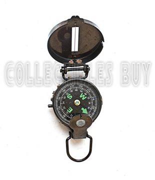 Lensatic Compass Black Military Vintage Antique navigational Marine, 3 inches, Antique Brass