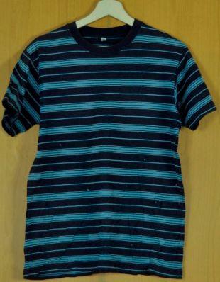 Vintage homme Stripe T Shirt bleu noir Unisexe Vêtements femmes adultes taille moyenne