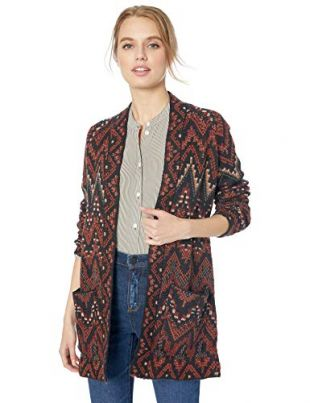 Lucky Brand Women's Long Ikat Open Front Cardigan Sweater, red/Multi, S