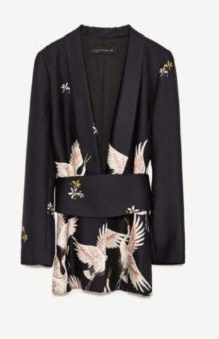 Zara Printed Jacket with Sash Belt