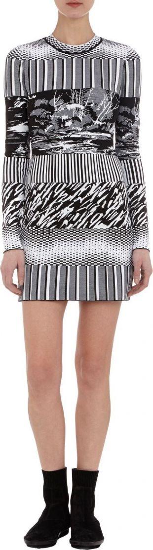 Balenciaga Mixed Pattern Jacquard Knit Dress