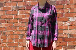 Vintage des années 1980 / 1990 s C, Mon violet / rose bouton manches longues imprimé à carreaux col chemise 100 % coton Made in USA