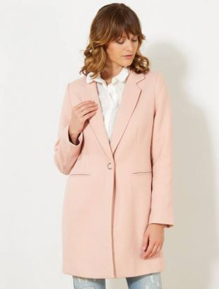 Manteau long femme rose pale
