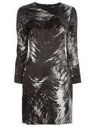 McQ Alexander McQueen Feather Print Satin Dress