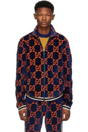 Gucci Blouson de survêtement bleu Chenille GG Supreme