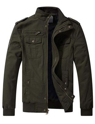 WenVen Men's Full Zip Military Jacket