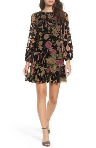 Eliza J Floral Print Velvet Shift Dress (Regular & Petite)