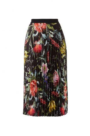 Fuzzi Black Floral Pleated Skirt
