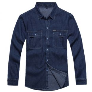 Denim-cotton long sleeve shirt