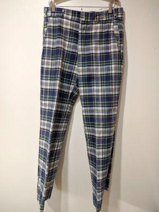 60 ' s madras pantalons pantalons sport /Coosa / preppy bleu à carreaux en coton pantalon pour homme taille taille 33