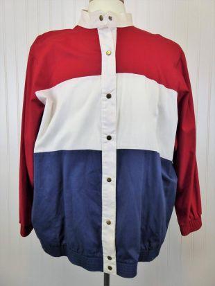 Richard Simmons Colorblock veste, 1980 Vintage rouge blanc et bleu pression patriotique manteau, Pays Bas drapeau rayé, unisexe taille 2 X, taille Plus
