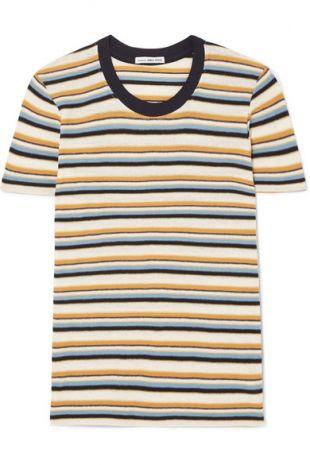 James Perse   T shirt en jersey de coton mélangé à rayures Vintage Boy