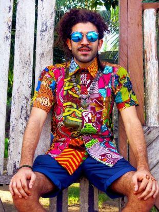 Coloris Me fou chemise / / chemise recyclée en Patchwork / / Mens Festival chemise / / chemise colorée / / Hawaiian chemise / / hommes chemise Hippie