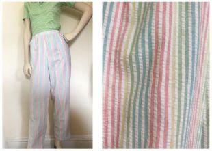 1980sRainbow rayé pantalon / / Pantalon en jambe effilée arc en ciel Vichy / / tirez sur la cigarette pastel rayure vertical pantalons taille L