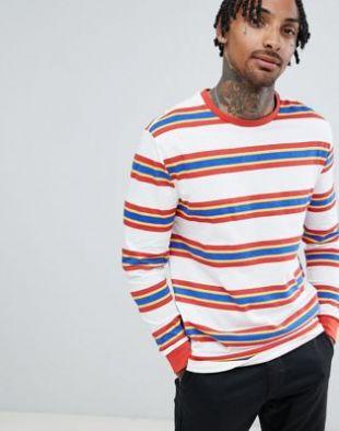 ASOS DESIGN retro striped relaxed long sleeve t shirt at asos.com