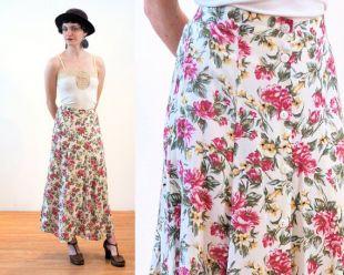 90 s jupe Midi floral S, Boho Vintage bouton Up rose doux Rayon vert Long imprimé fleur blanche, petite