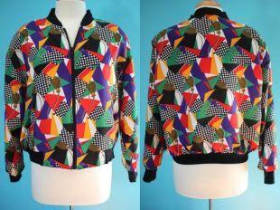 80 Bomber Jacket fin des années 80/coloré Geo pompon début des années 90 Print blouson coupe vent