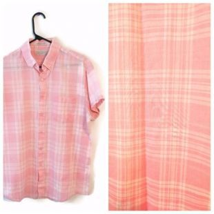 Wedgefield rose blanc Plaid taille L grand fin manches courtes vintage